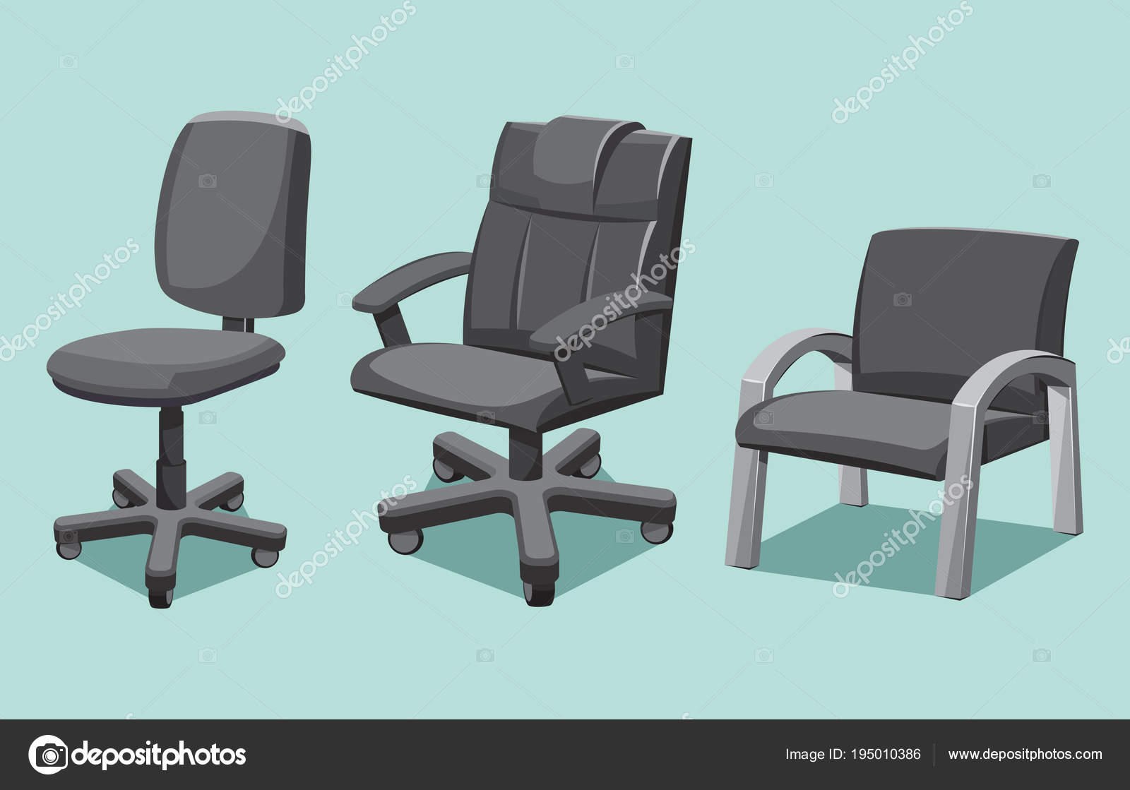 office chair types wall mounted folding collection cartoon isolated vector illustration stock