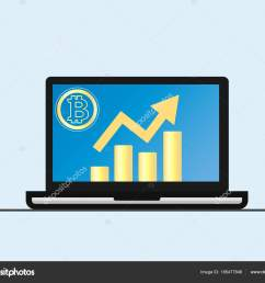 laptop with growth diagram on screen cryptocurrency and digitally concept bitcoin growing value concept isolated vector illustration vector by  [ 1600 x 1300 Pixel ]