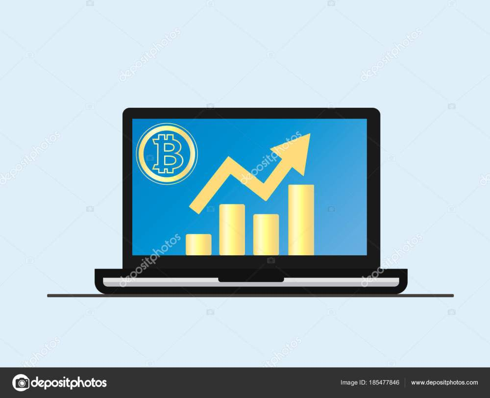 medium resolution of laptop with growth diagram on screen cryptocurrency and digitally concept bitcoin growing value concept isolated vector illustration vector by