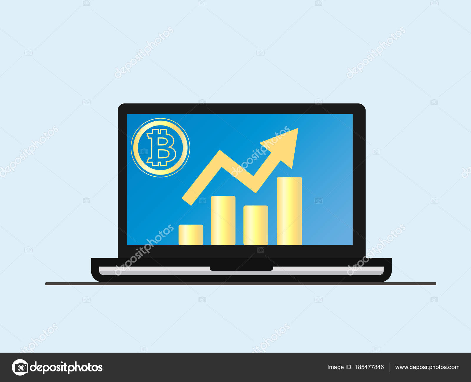 hight resolution of laptop with growth diagram on screen cryptocurrency and digitally concept bitcoin growing value concept isolated vector illustration vector by