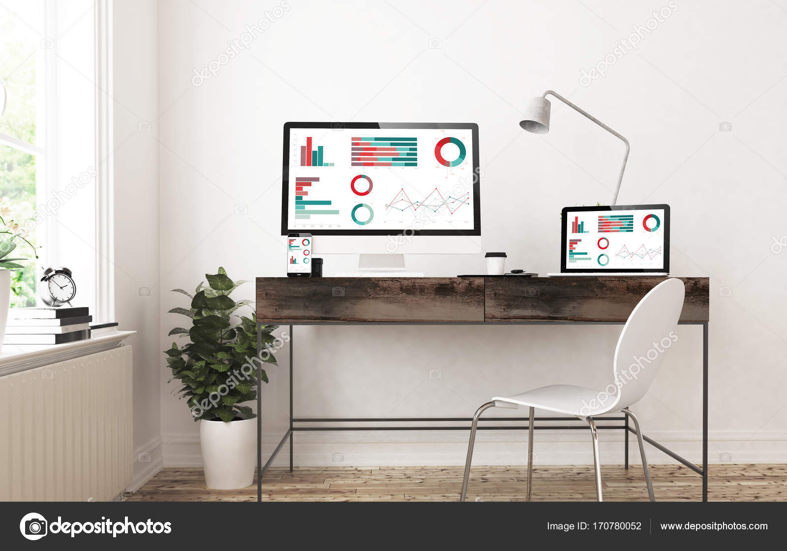 hight resolution of 3d rendering of diagrams website on screens of laptop and desktop computer stock image