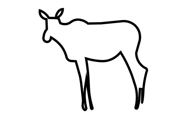 white female moose silhouette on black background — Stock