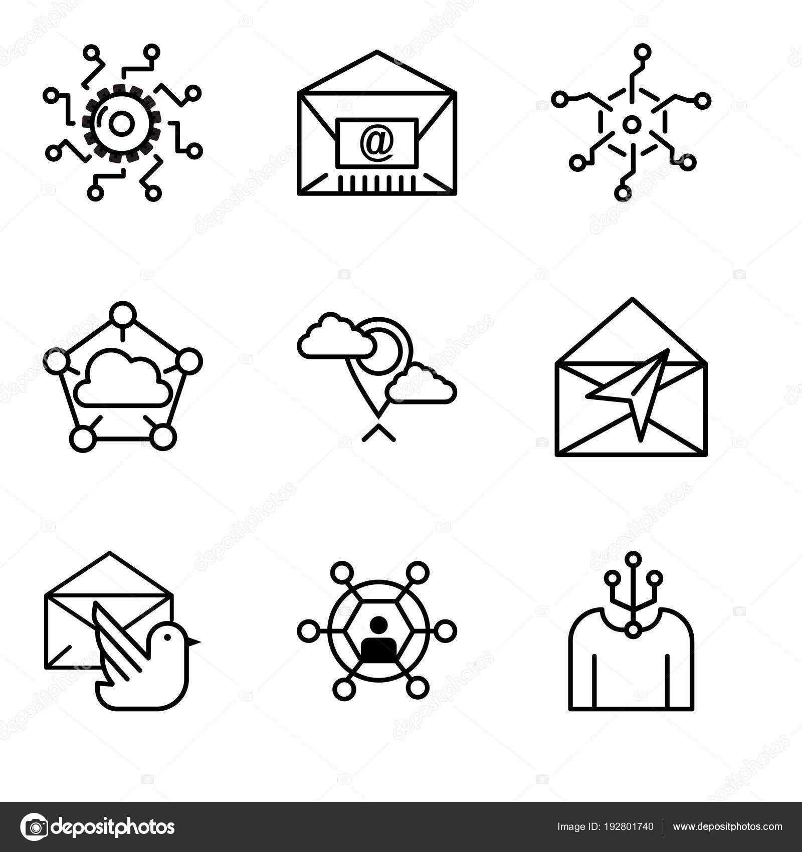 hight resolution of set of 9 simple editable icons such as human user mail bird mail