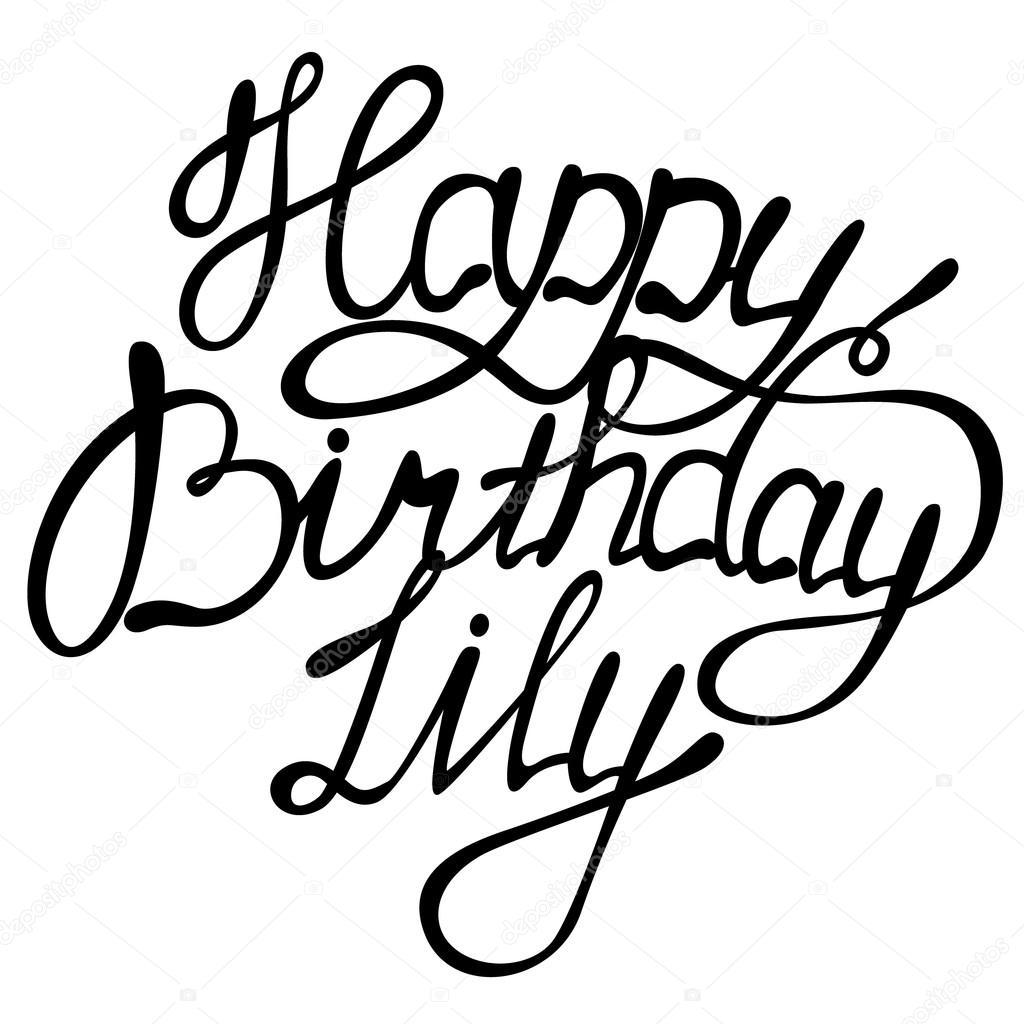 Happy birthday Lily lettering — Stock Vector © Marishayu #124985222