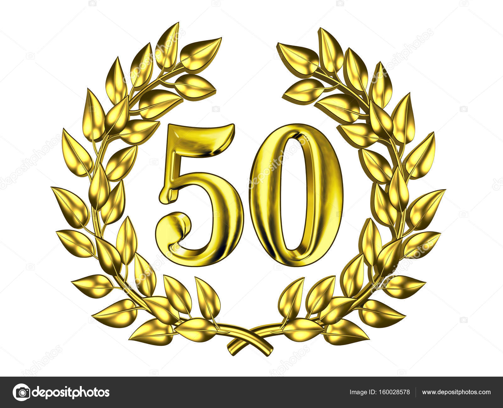 Chiffre dor de 50 dans une couronne dor  Photographie Dmitrydesign  160028578