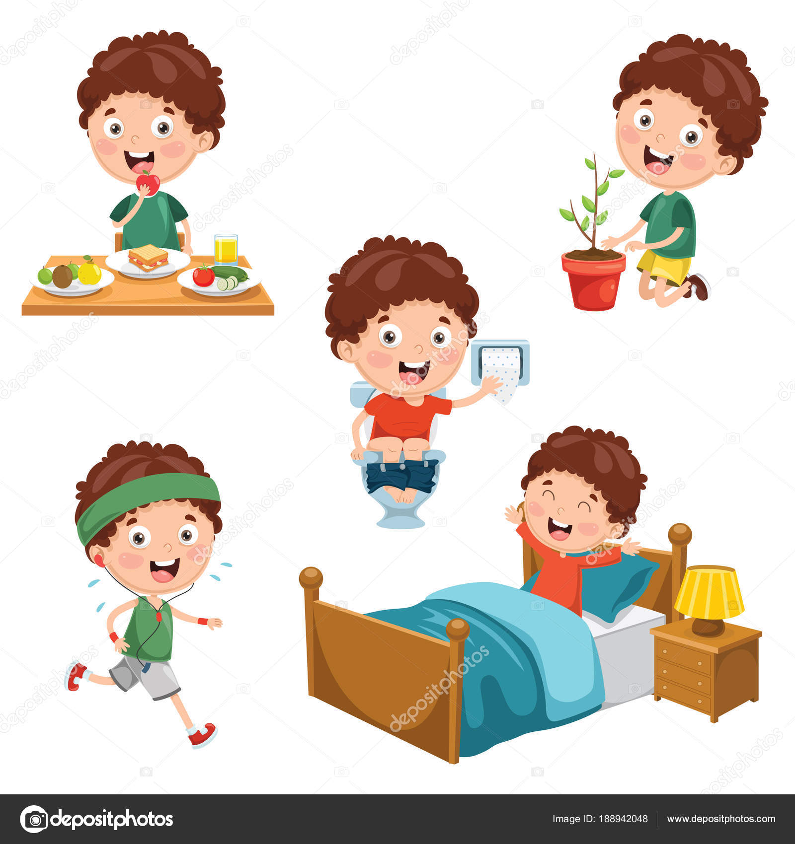 Vector Illustration Kids Daily Routine Activities