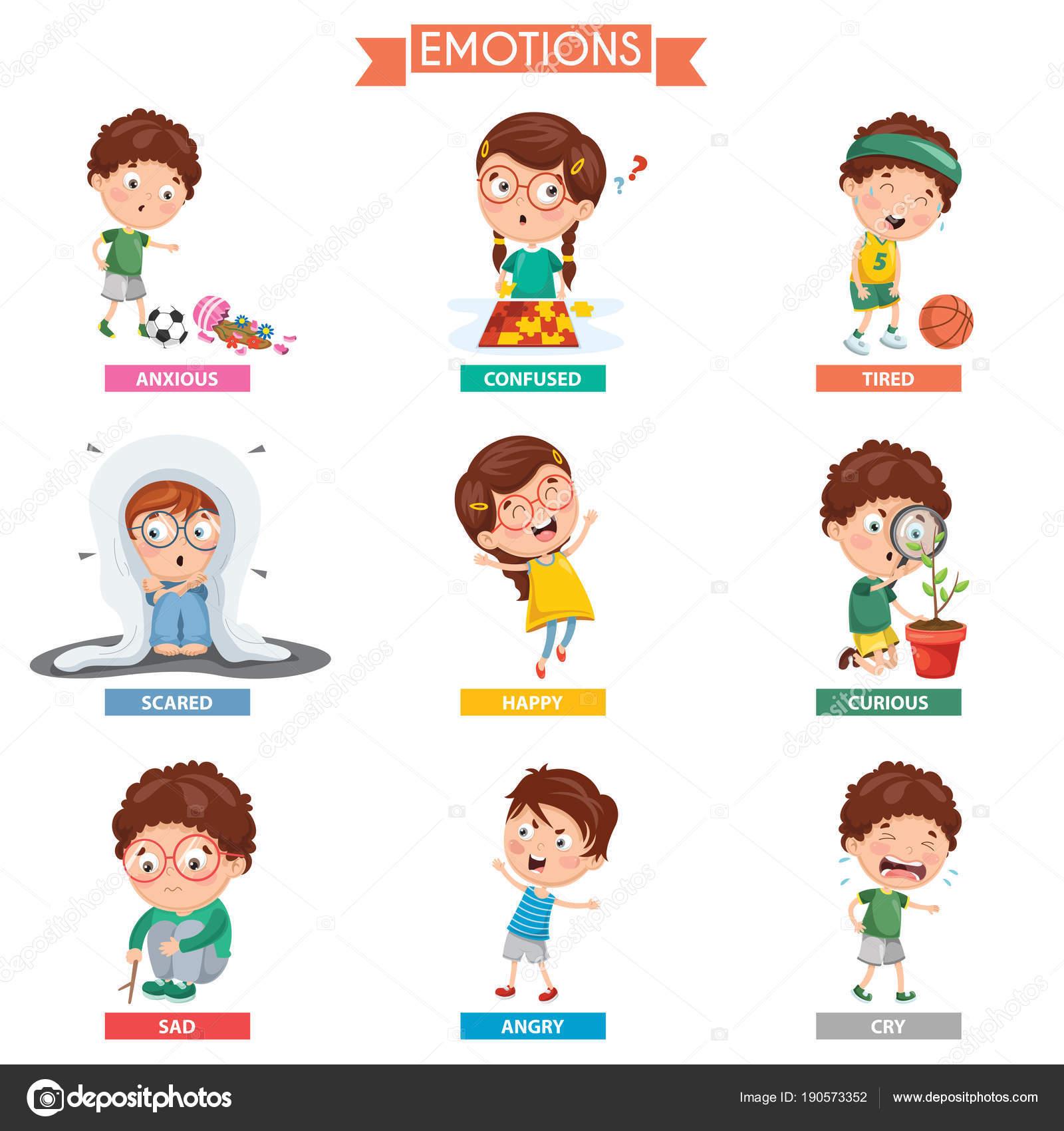 Illustration Vectorielle Des Emotions Enfant