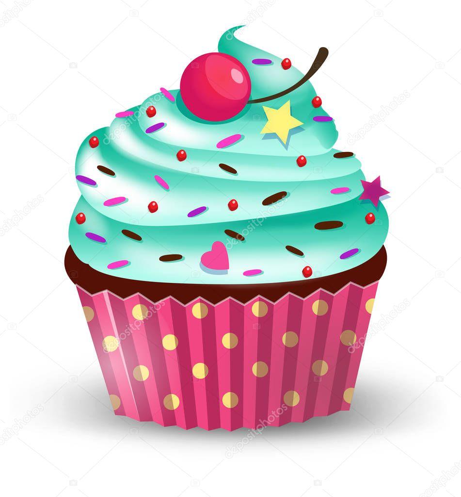 Torta de la taza hecha a mano de dibujos animados lindo con cereza. Ilustración de Vector. clip-art. aislado sobre fondo blanco — Vector de ...