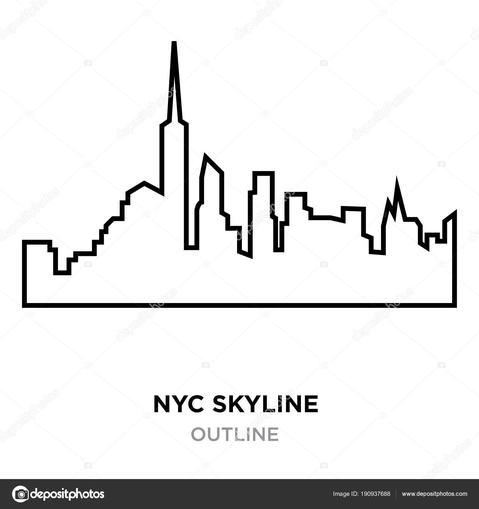 Nyc Skyline Outline On White Background Vector