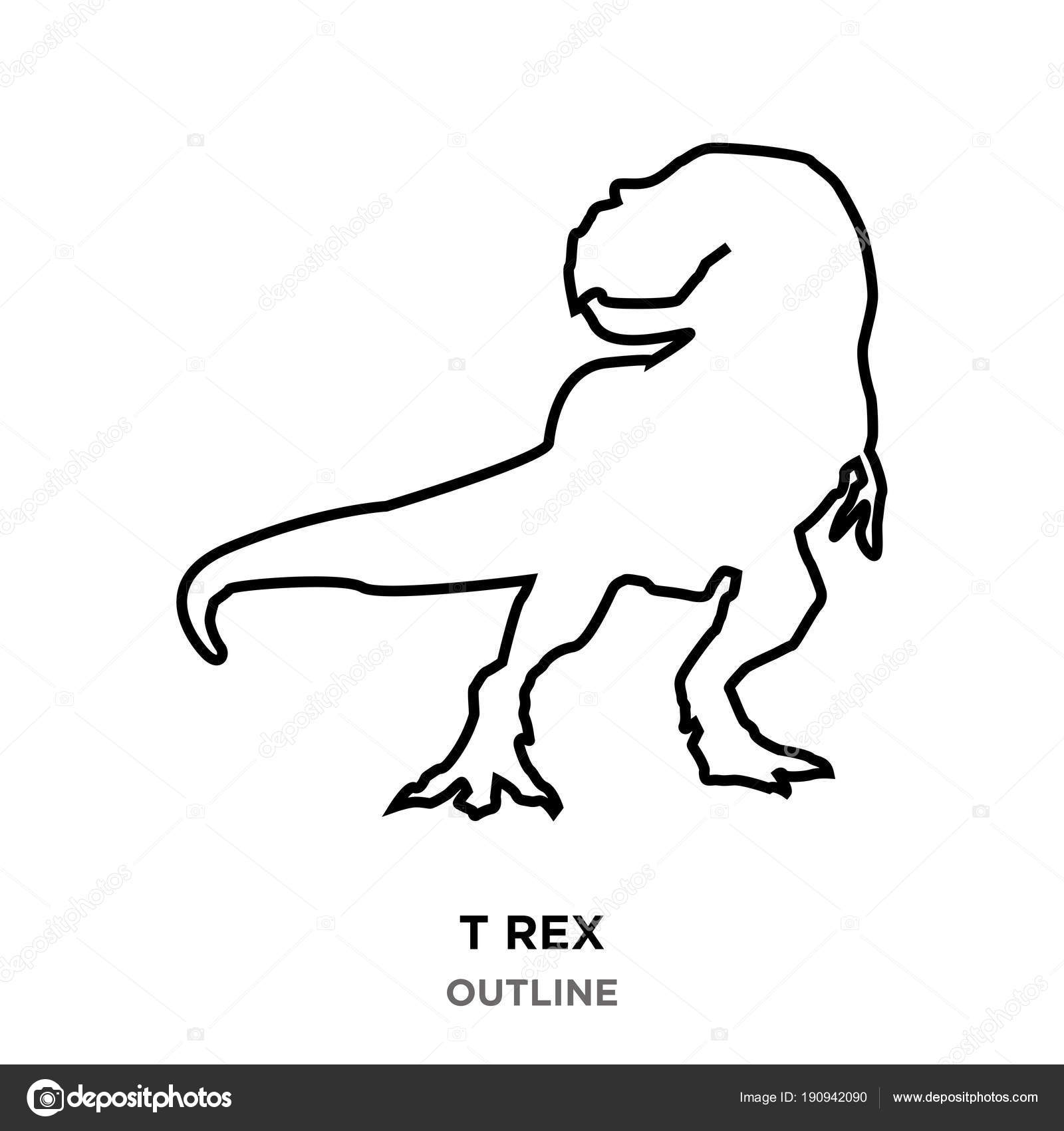T Rex Outline On White Background Looking Back