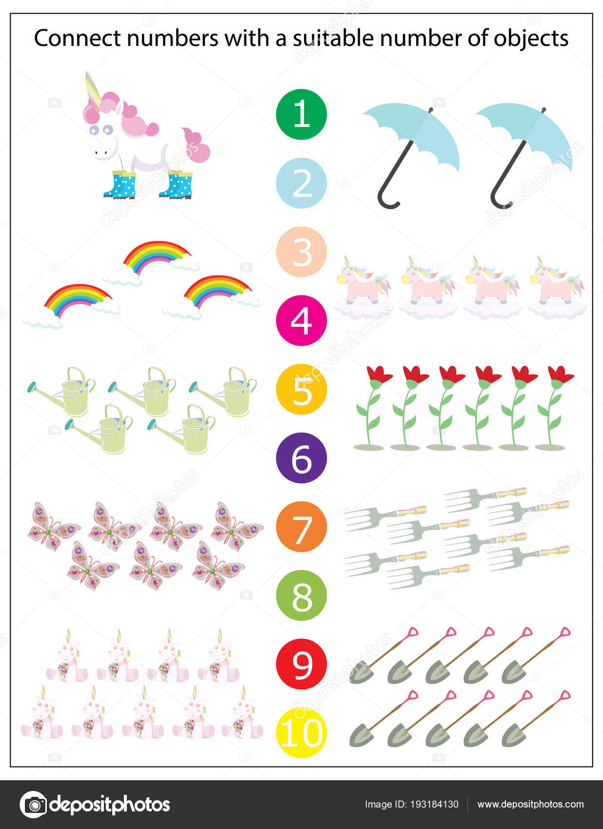 Wiskunde Kleuterschool Werkblad Kinderen Afdrukbare Spel Grappige Eenhoorns Kinderen Spel