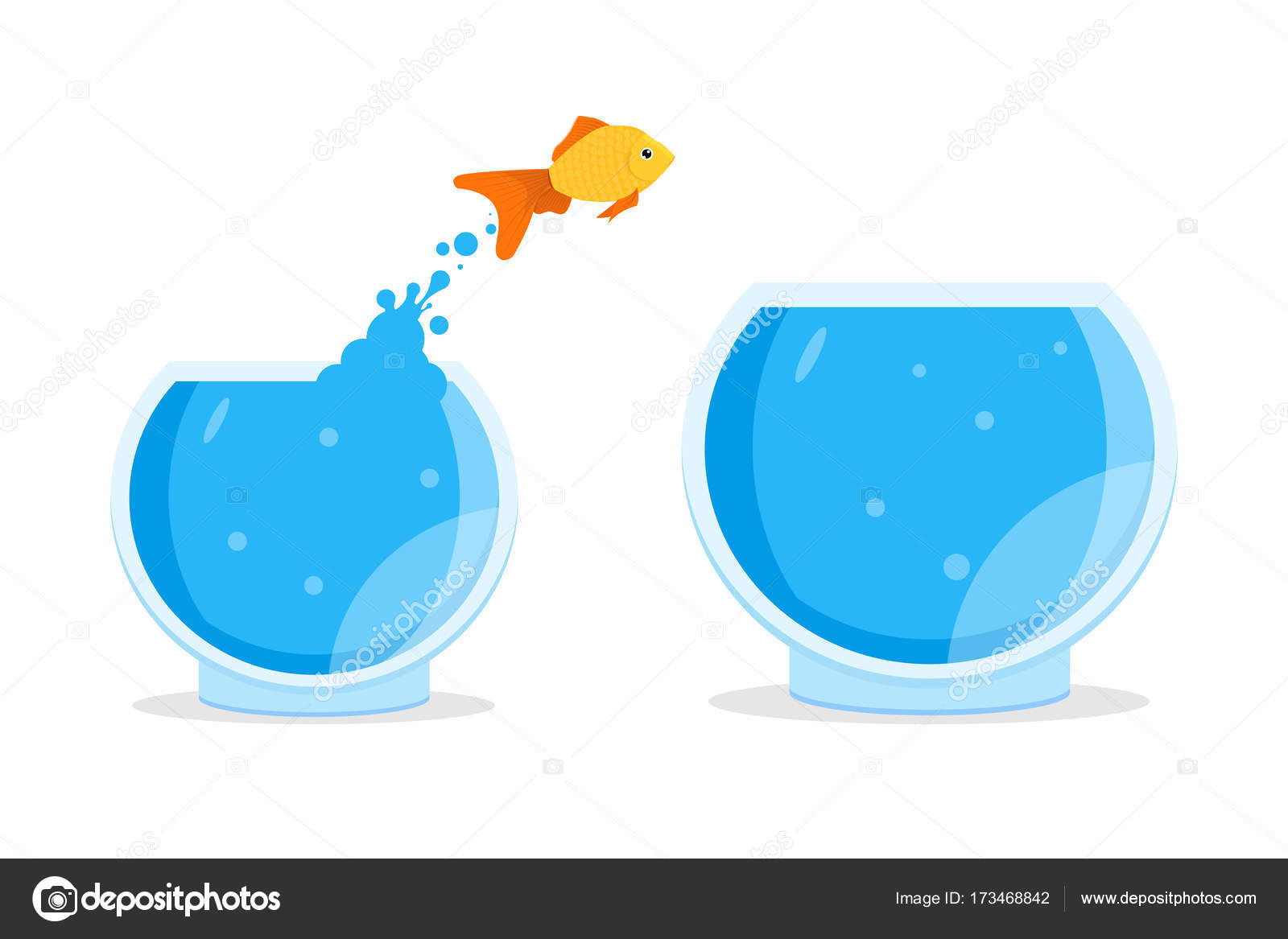 hight resolution of saltar fuera del taz n de fuente del goldfish vector de stock