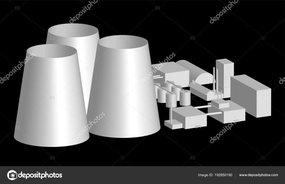 medium resolution of 3d model factory layout power station in an projection 3d illustration of industrial building or factory over black background nuclear power plant layout