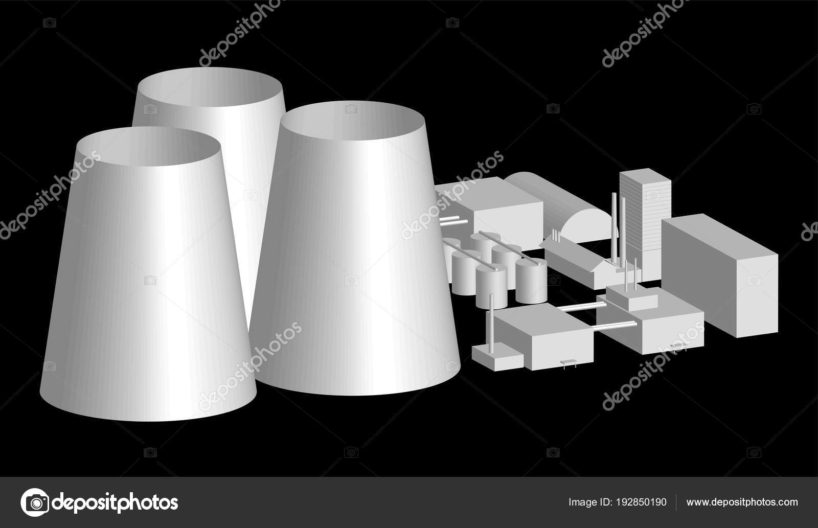 hight resolution of 3d model factory layout power station in an projection 3d illustration of industrial building or factory over black background nuclear power plant layout