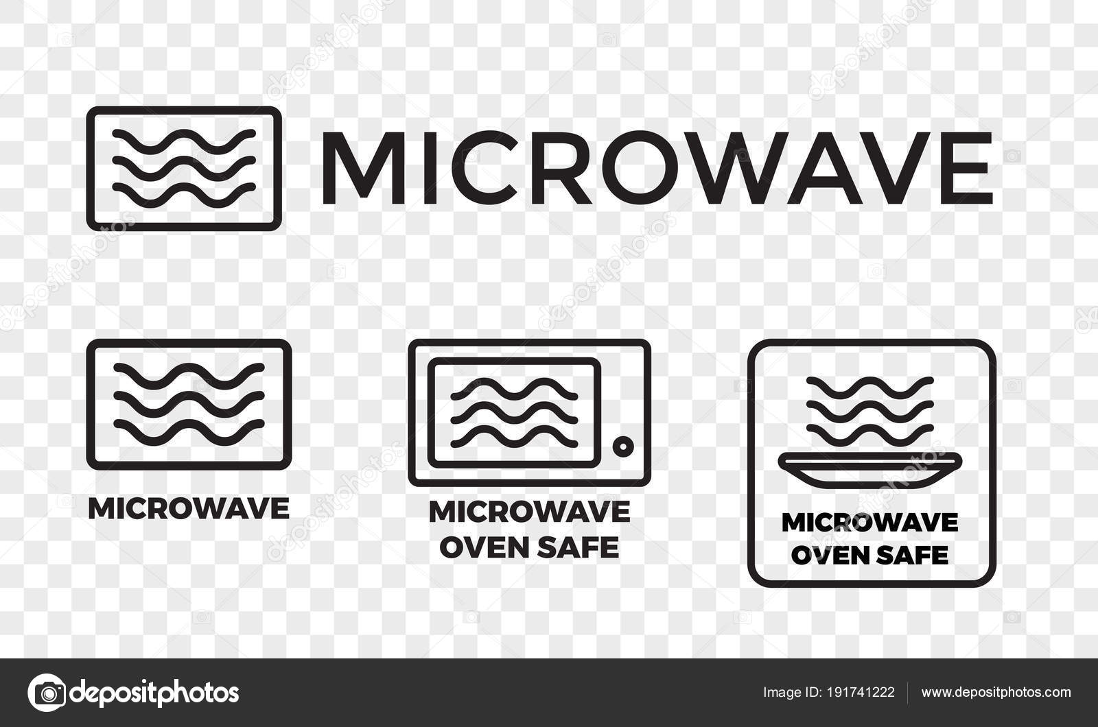 Microwave oven safe icon templates set. Vector isolated