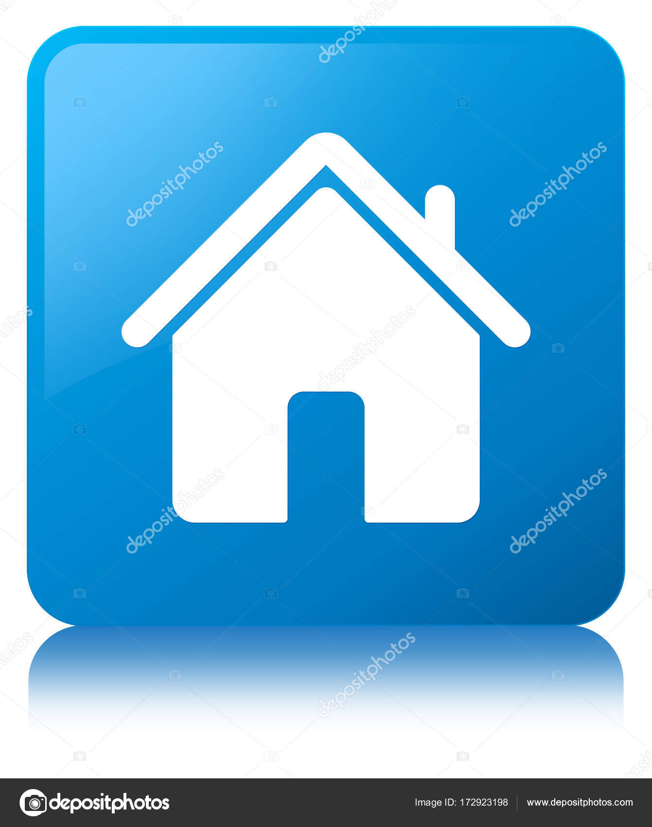 Blue Home Icon : Square, Button, Stock, Photo,, Image, FR_Design, #172923198