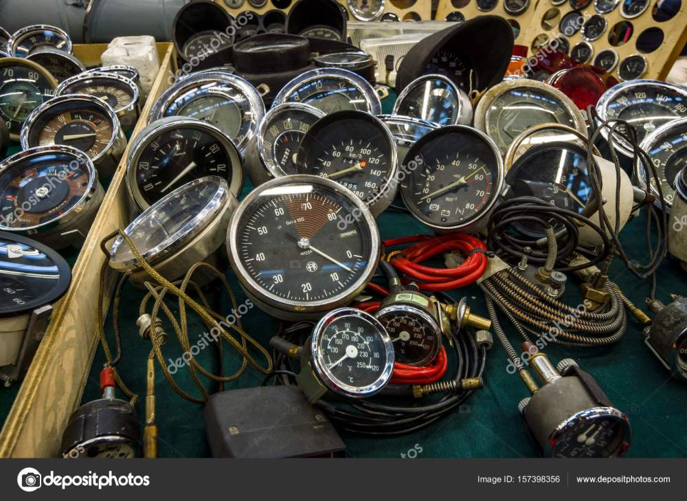 medium resolution of the point of sale of speedometers tachometers and odometers for vintage cars stock