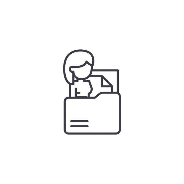 Contratación de concepto icono lineal de personal