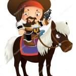 Cartoon Western Cowboy On Horse Stock Photo C Illustrator Hft 135146946