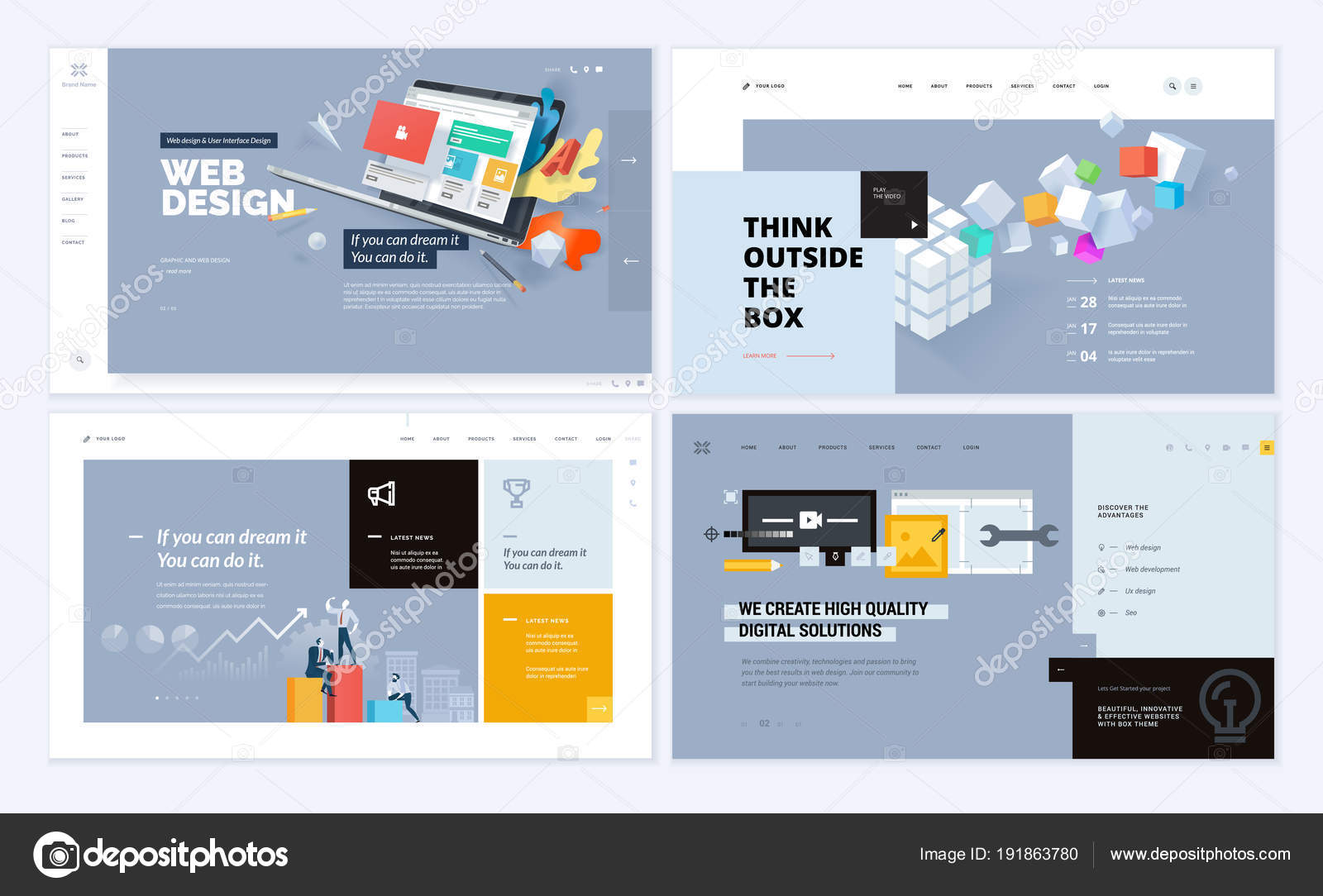 17/02/2021· 25 photography website templates for professional and hobby photographers 2021. Set Creative Website Template Designs Vector Illustration Concepts Website Mobile Stock Vector Image By C Variant 191863780