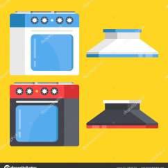 Kitchen Aid Range Cabinets Riverside Ca 矢量厨房范围设置 黑色和白色炉和炉灶罩 现代平面设计矢量图 图库矢量 现代平面设计