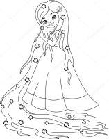 Prinses Rapunzel kleurplaat — Stockvector © Malyaka 149173308
