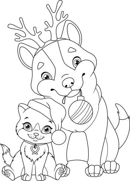 Christmas Cat Coloring Page Stock Vector Malyaka