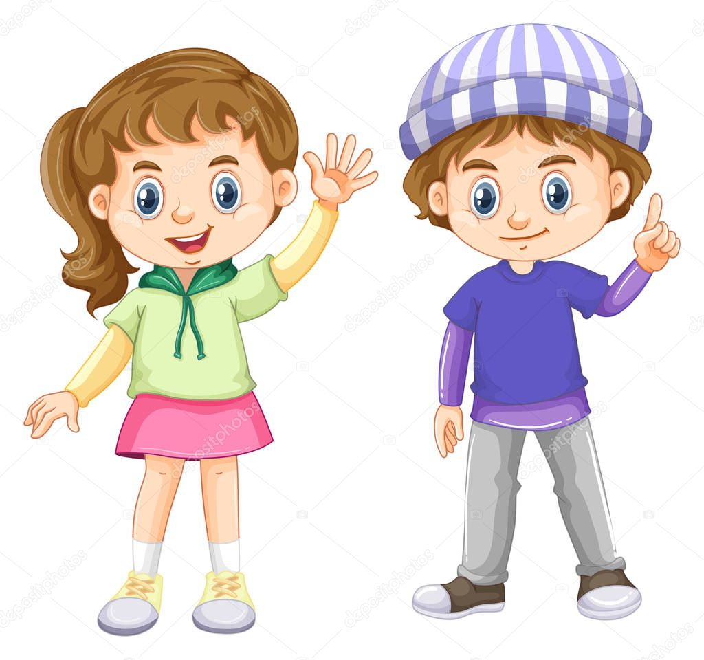 Lindo Nino Y Una Nina Con Cara Feliz