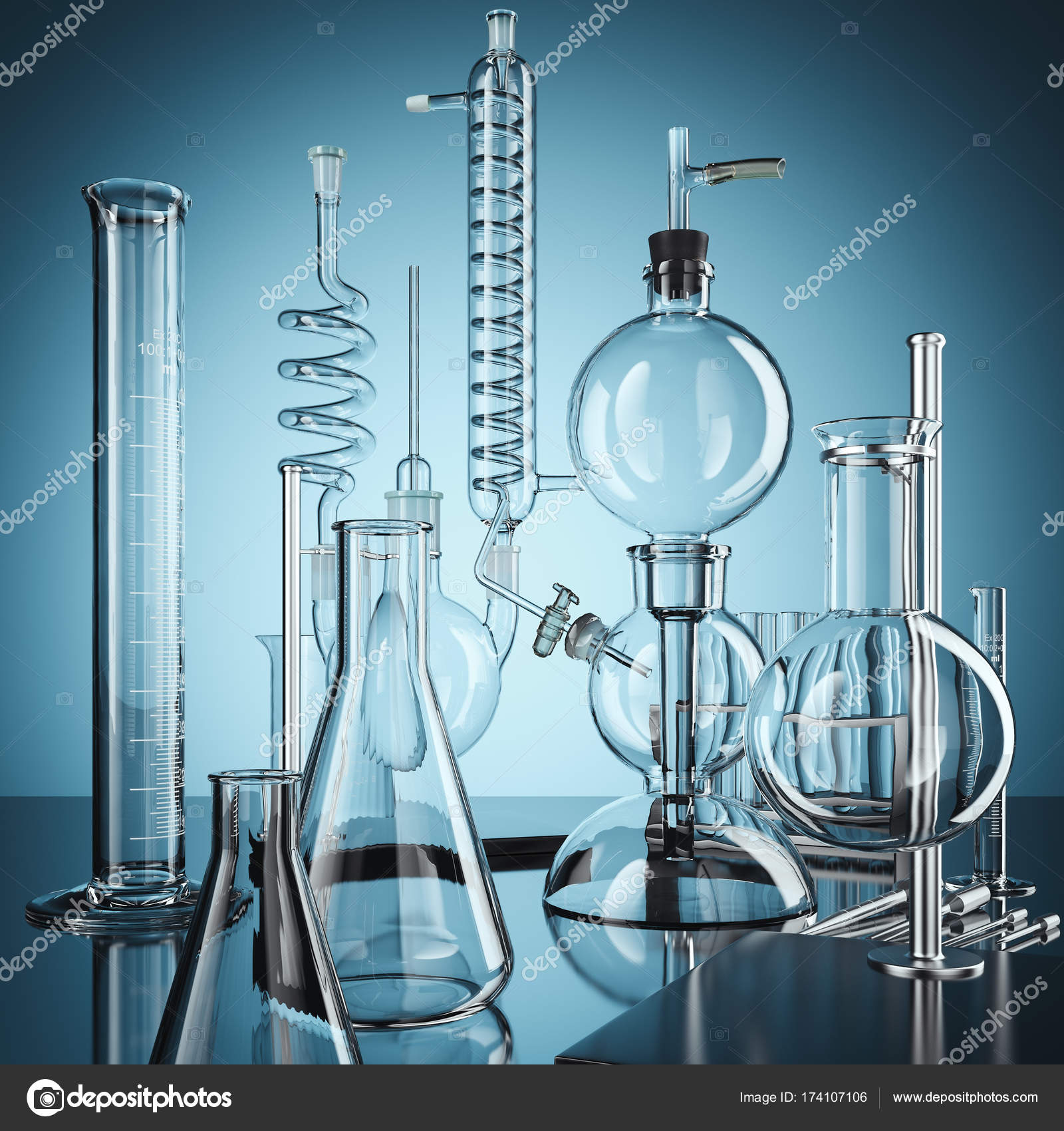 Glass Chemistry Lab Equipment 3d Rendering