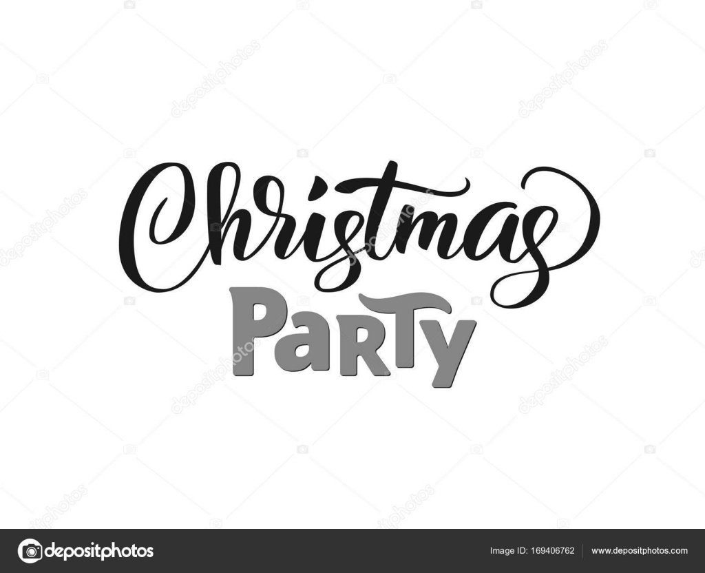 Christmas party hand written lettering, modern calligraphy