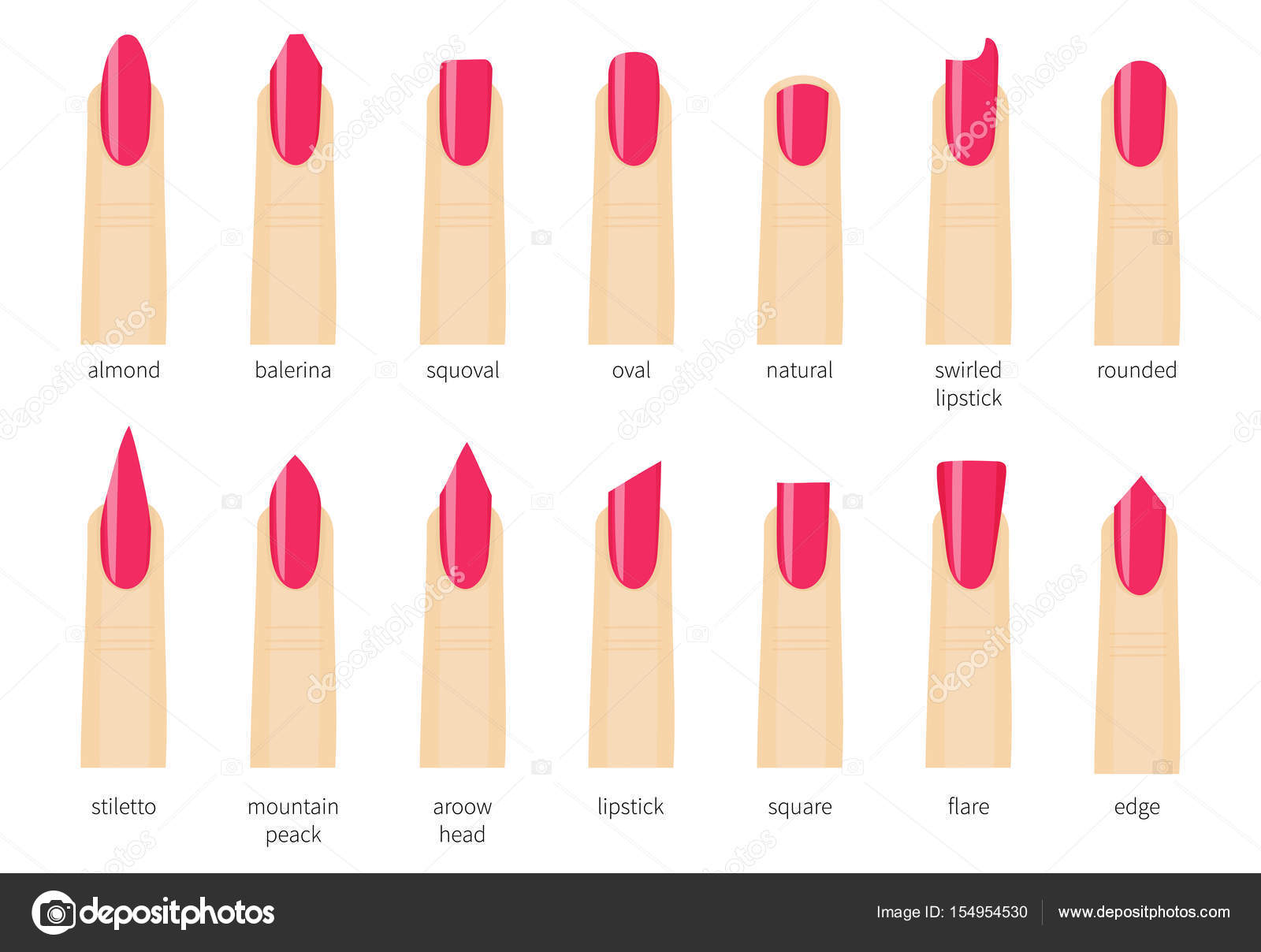 Different Fashion Nail Shapes Set Kinds Of Nails Salon