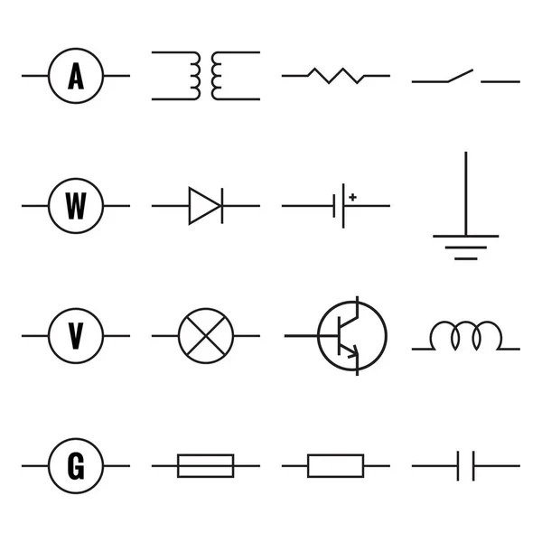 Set of electronic circuit symbols — Stock Vector © frenta