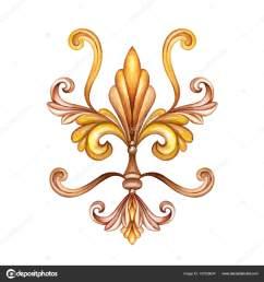 watercolor illustration fleur de lis acanthus decorative element vintage ornament clip art [ 1600 x 1700 Pixel ]