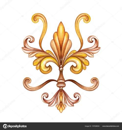small resolution of watercolor illustration fleur de lis acanthus decorative element vintage ornament clip art