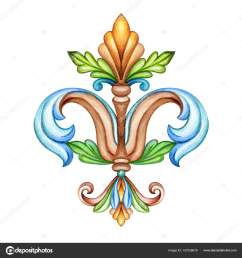 watercolor illustration fleur de lis acanthus decorative element vintage ornament clip art [ 1600 x 1700 Pixel ]