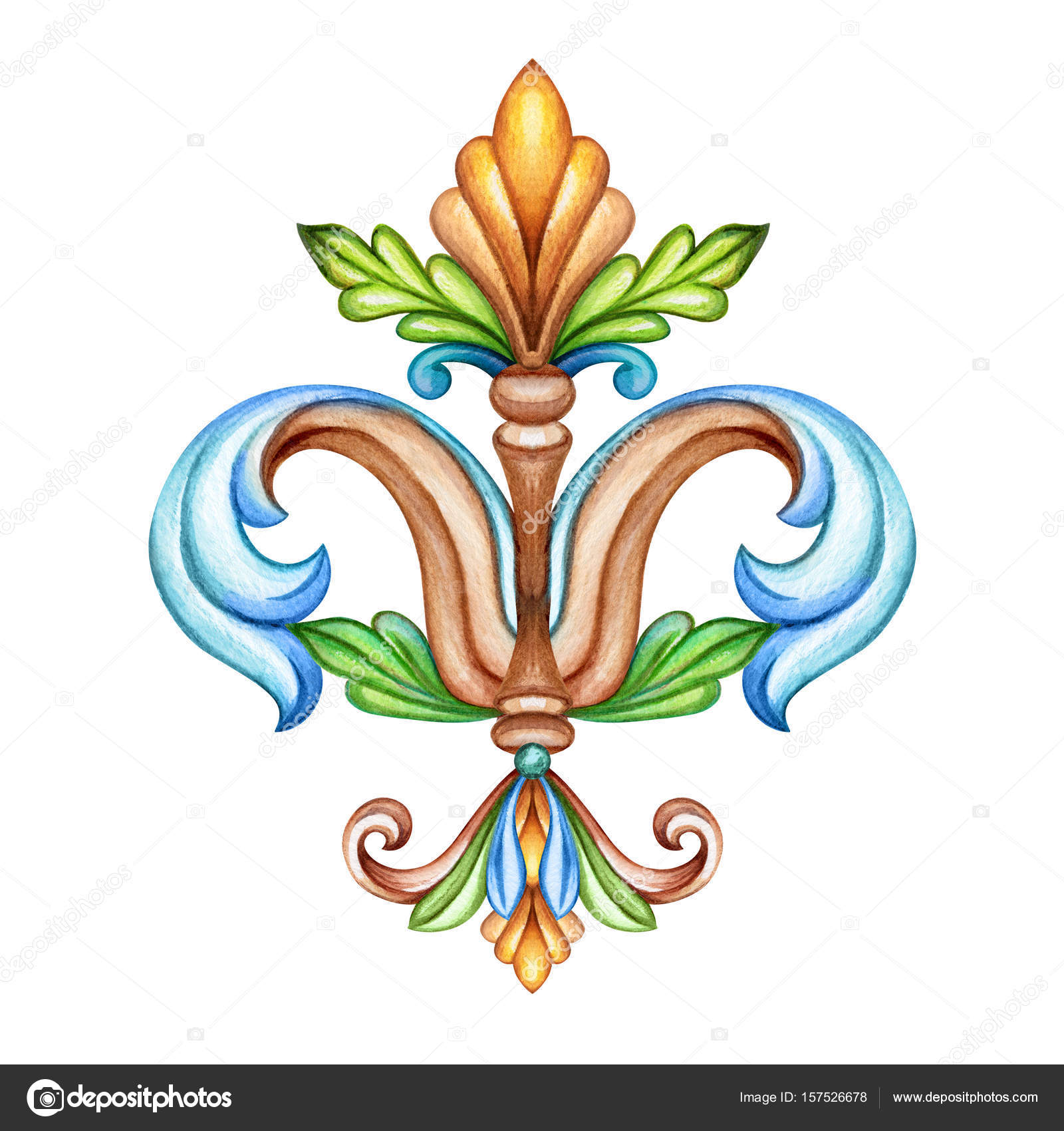 hight resolution of watercolor illustration fleur de lis acanthus decorative element vintage ornament clip art