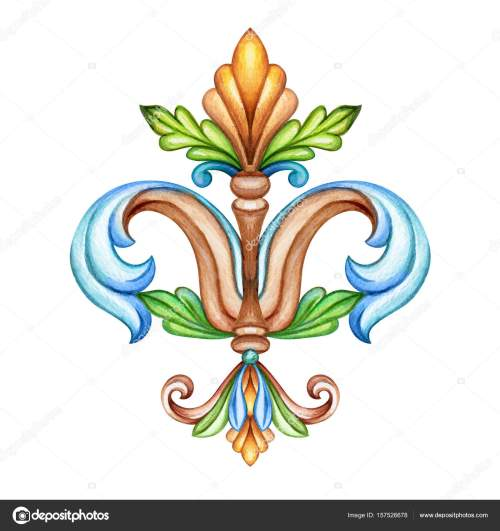 small resolution of watercolor illustration fleur de lis acanthus decorative element vintage ornament clip art