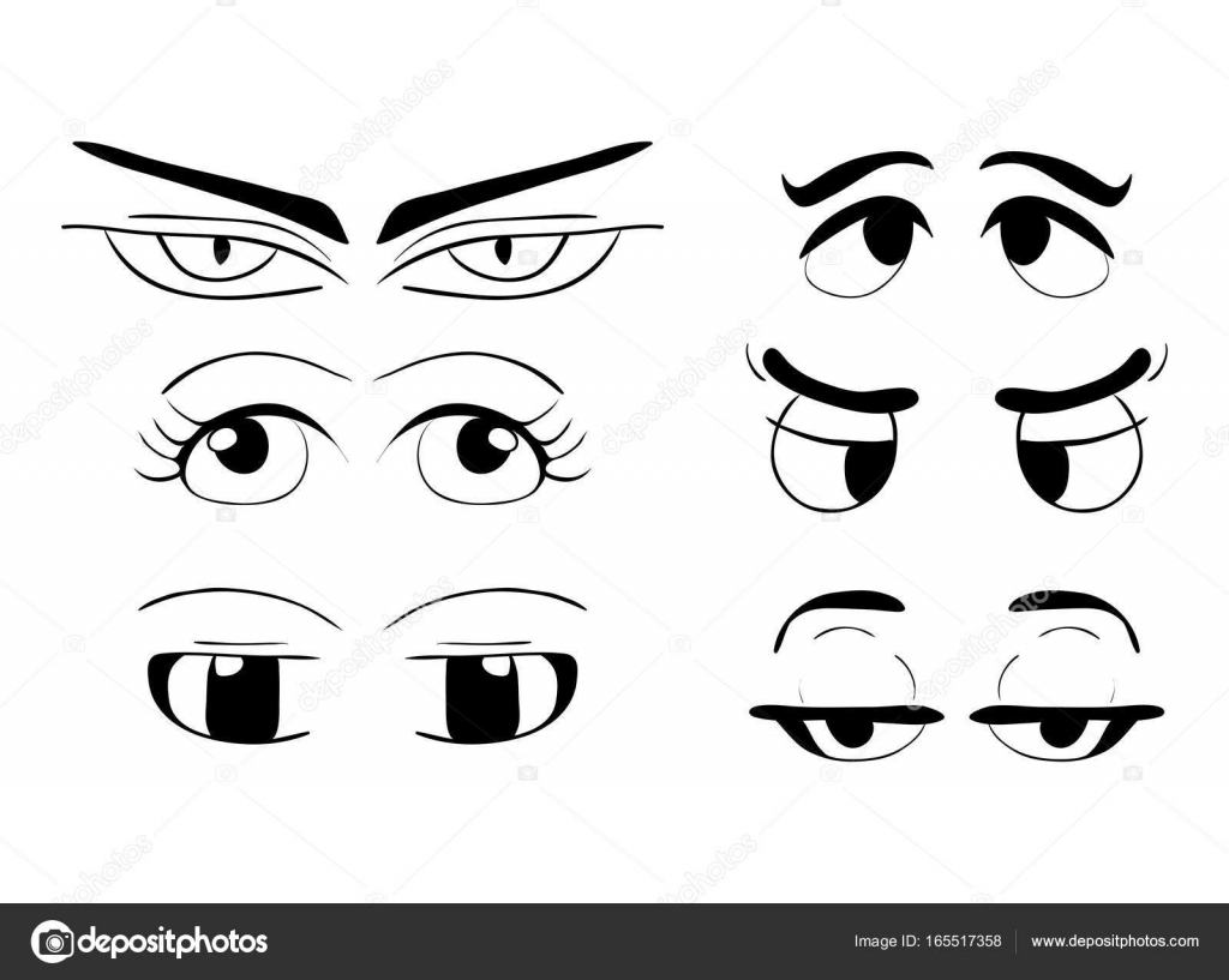 Dibujos Animados Ojos Vector Simbolo Icono Diseno Hermosa