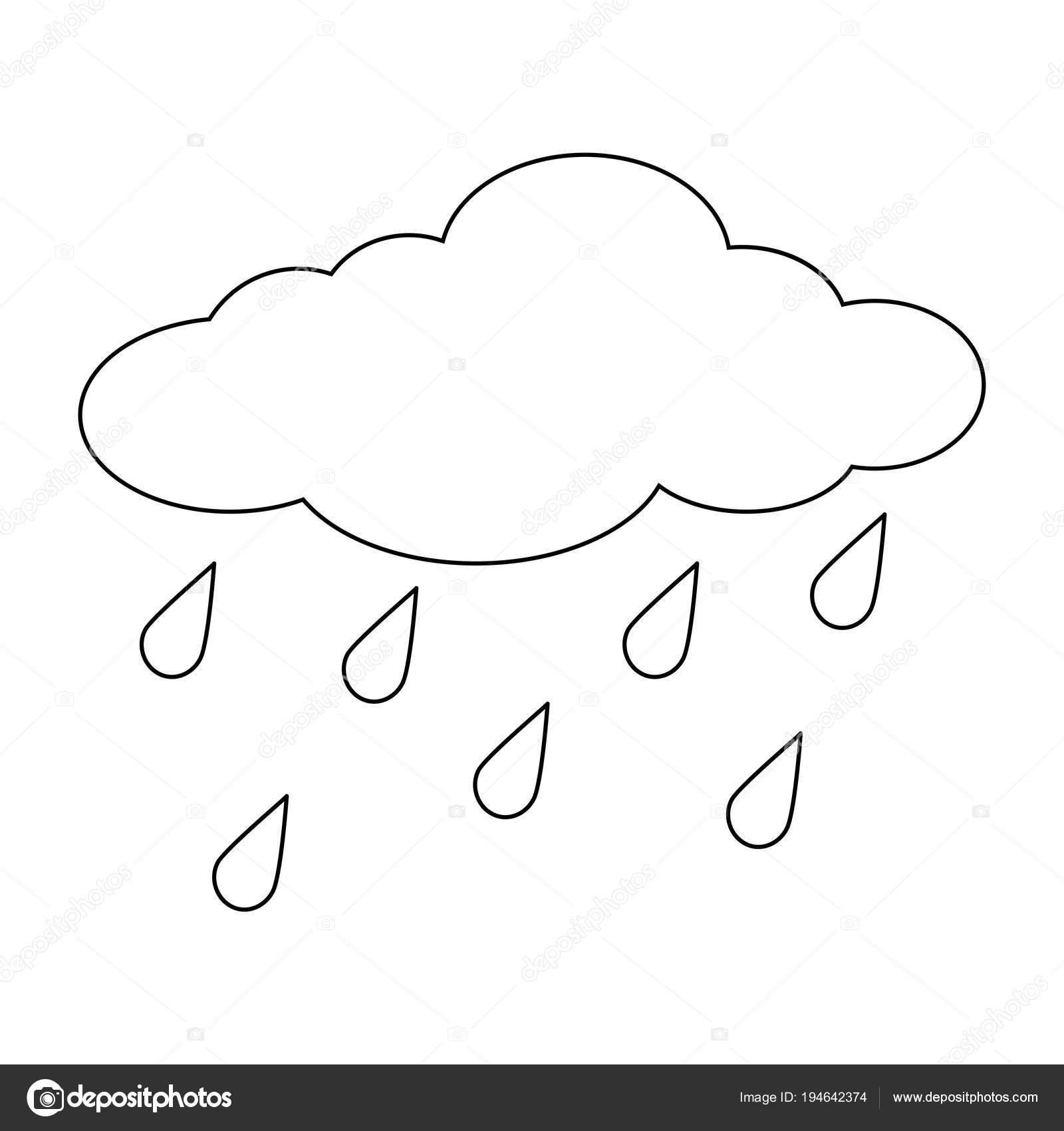Nube Del Fumetto Con Contorno Di Gocce Di Pioggia Isolata