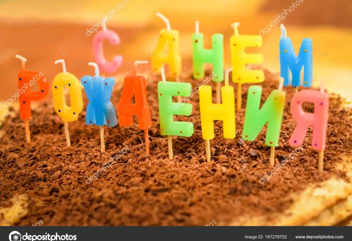 Happy Birthday Cake With Candles In The Form Of Russian Letters