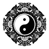 Vector henna tattoo mandala. Yin-yang decoratieve symbool ...