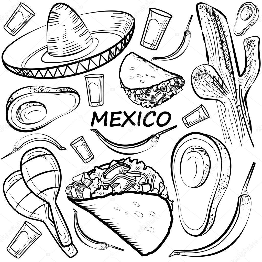 Hand Gezeichnet Doodle Mexiko Satz