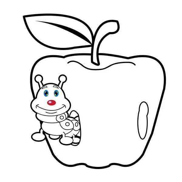 apple with worm coloring page — Stock Vector © izakowski