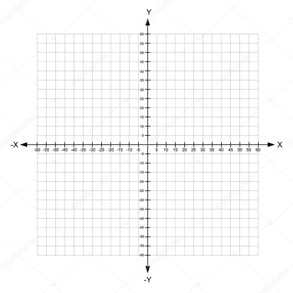 x en blanco y plano de coordenadas cartesianas y eje con