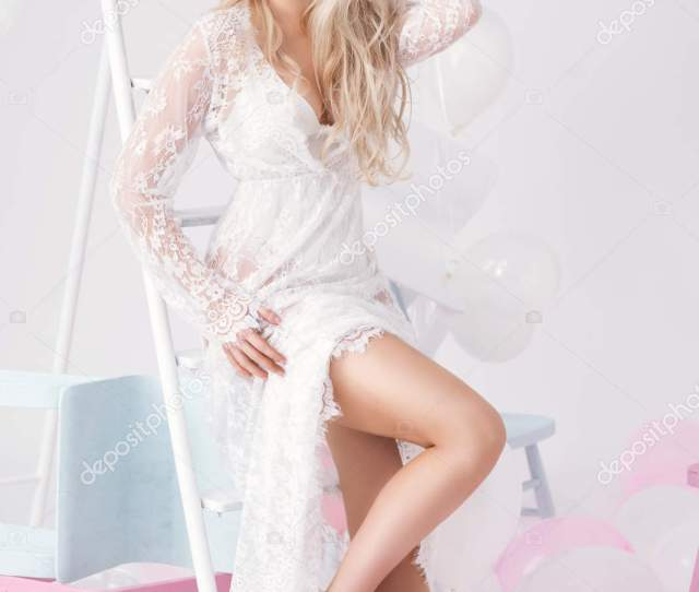 Beautiful Young Woman Posing Ladder White Dress Blonde Attractive Model Stock Photo