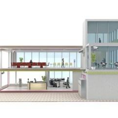 Turquoise Kitchen Decor Ceiling Fan 办公建筑剖面图 — 图库照片©petrovv#91348268