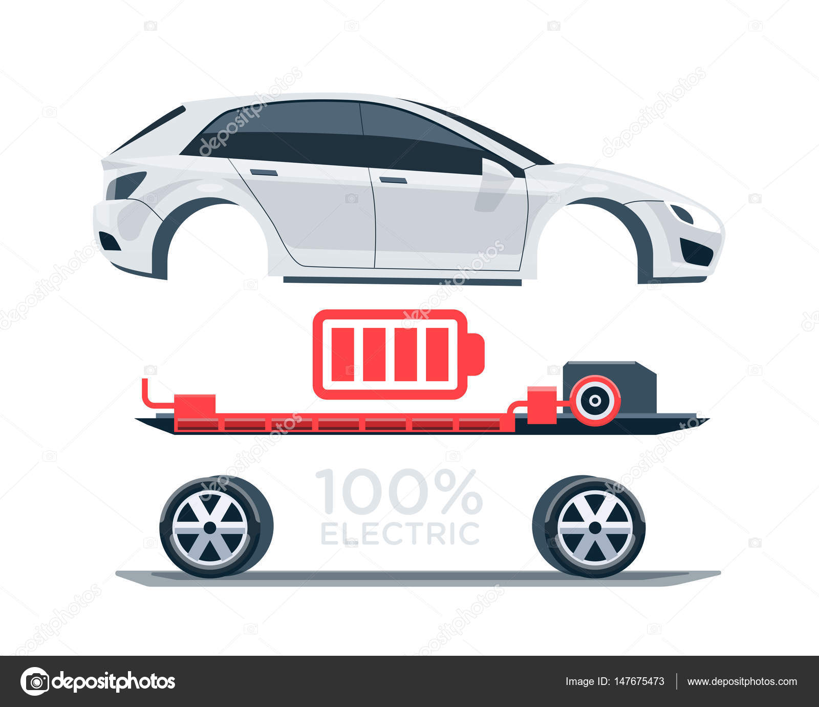 hight resolution of electric car scheme simplified diagram of components stock vector