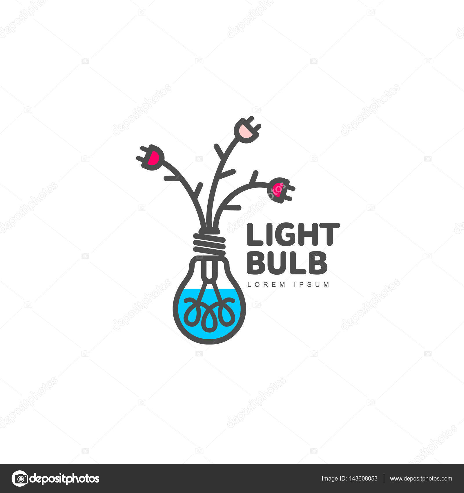 Light Bulb Logo With Flowers Formed By Cables And Plugs