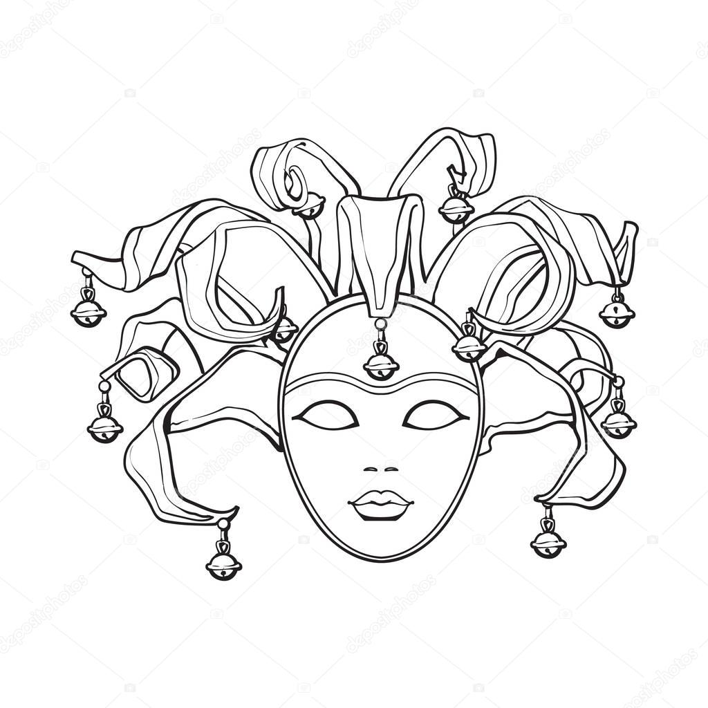 Decorated Venetian Carnival Jester Mask With Bells And