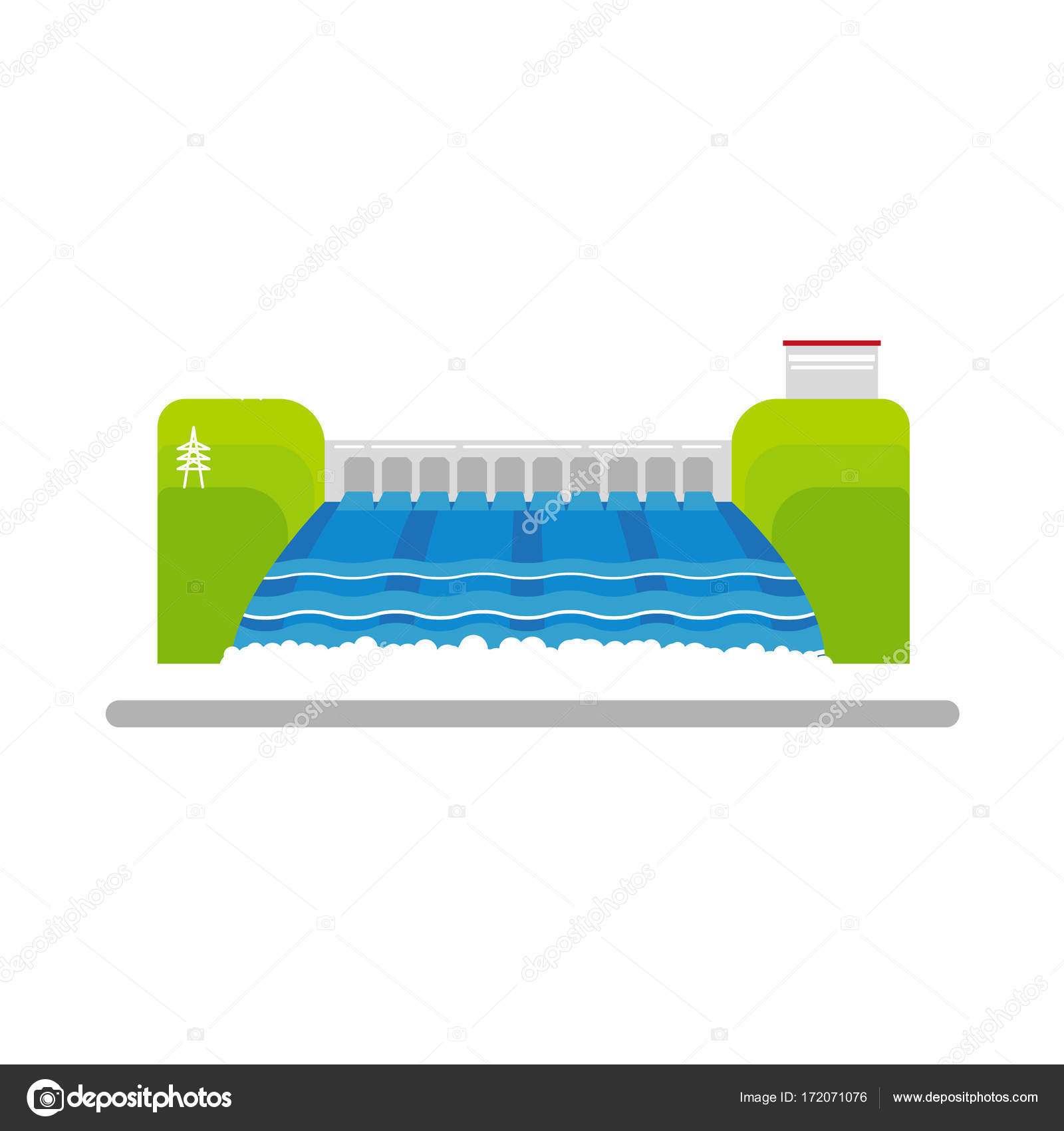 hight resolution of vector flat hydroelectric power station water dam stock vector